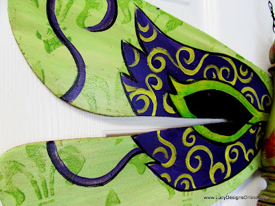 hand painted mardi gras mask on dragonfly art