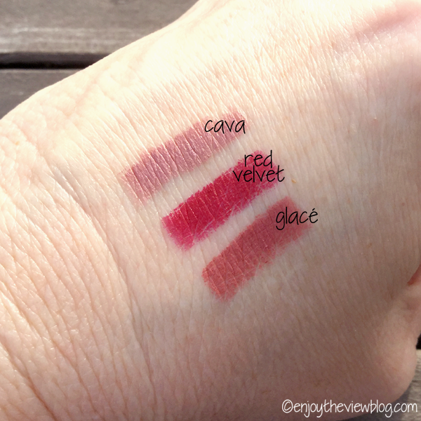 Color swatches of Bite Beauty Matte Creme Lip Crayons in Cava, Glacé, and Red Velvet