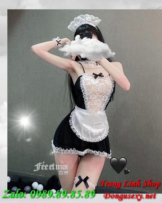 váy ngủ cosplay hầu gái gợi tình 9
