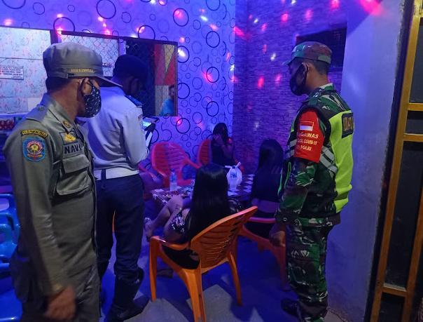 Kafe dan Karaoke di Sisir Kodim 0410/KBL Bersama Satgas Terpadu Covid19 Kota Balam Dalam Penegakan Disiplin Protokoler kesehatan