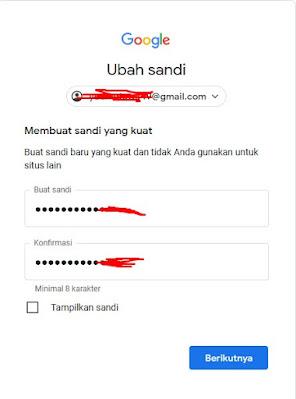 password baru - Lupa Password Gmail