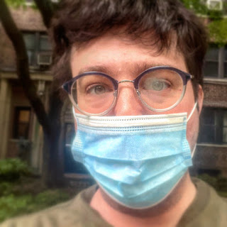 Greig Roselli wears a surgical mask during the 2020 Coronavirus outbreak in New York City.