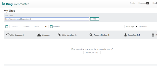 cara mendaftarkan blog di bing webmaster tools