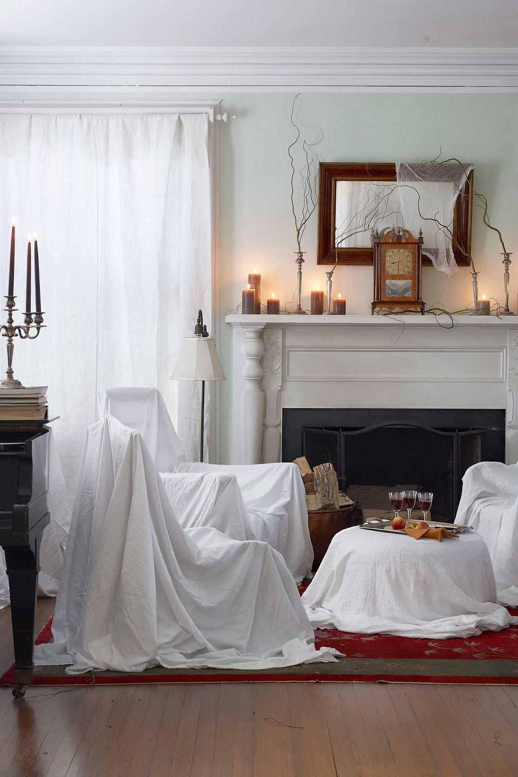 como decorar fiesta halloween con ambiente misterioso y sabanas blancas