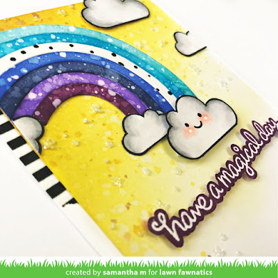 Have a Magical Day Card by Samantha Mann, Lawn Fawnatics Challenge, Color Inspiration, Lawn Fawn, Rainbow, Distress Inks, Embossing Paste, Glitter, Cards, Handmade Cards #lawnfawn #lawnfawnatics #colorinspiration #distressinks #inkblending #stencil