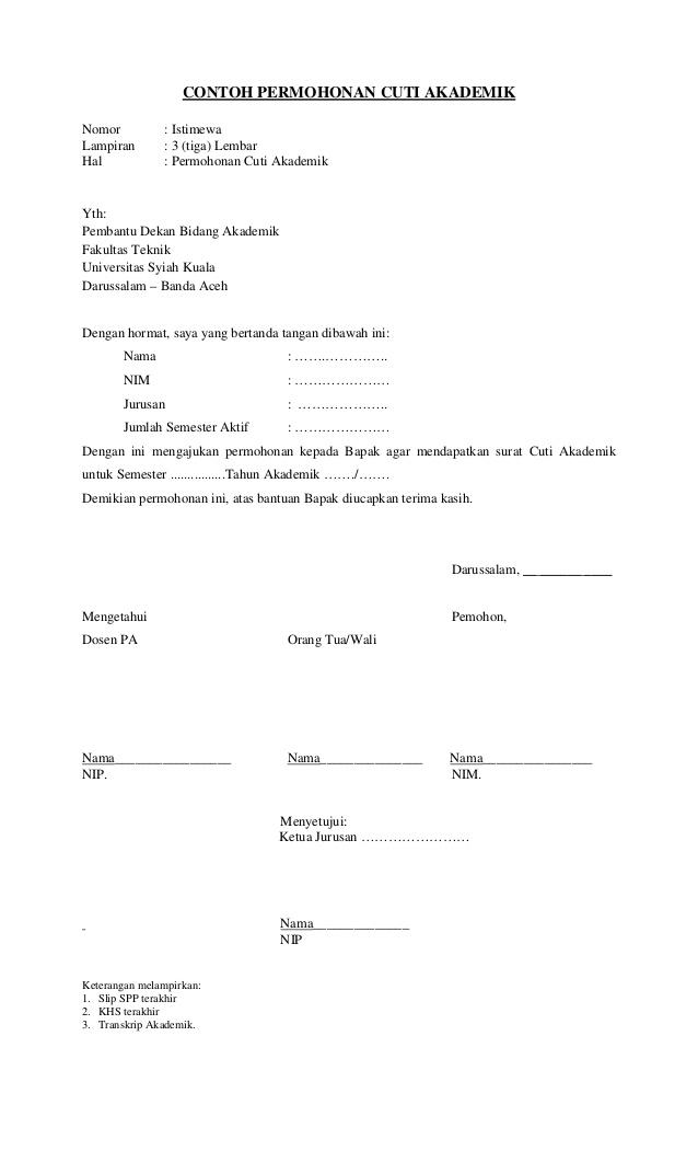 Cara Membuat Surat Permohonan Cuti Kuliah Lengkap Berbagi