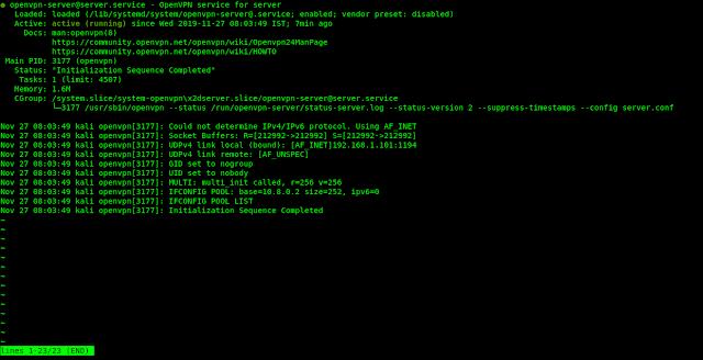 openvpn server running in kali linux