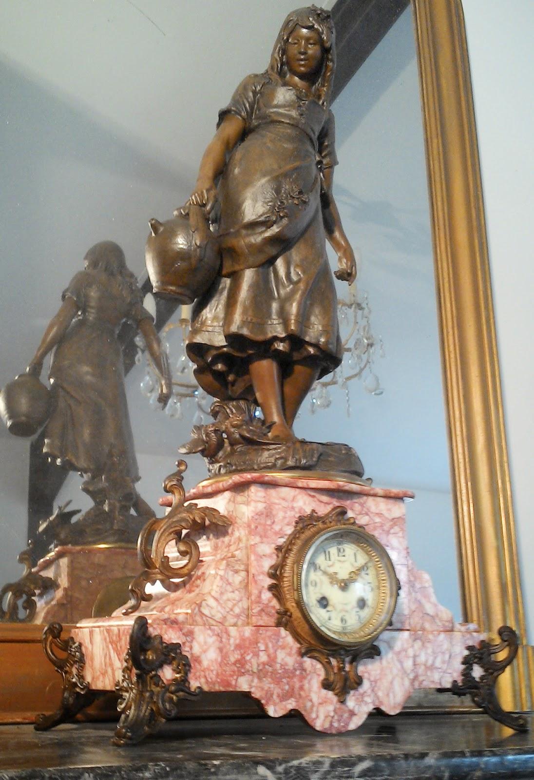 immense pendule cosette par moreau xixeme si cle 1889 en marbre rose. Black Bedroom Furniture Sets. Home Design Ideas