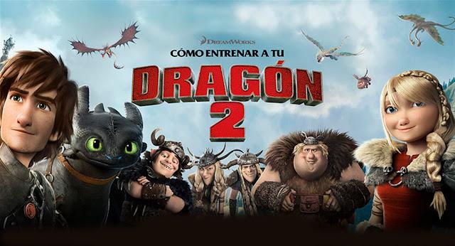 Cartel con los protagonistas de Cómo entrenar a tu Dragón 2