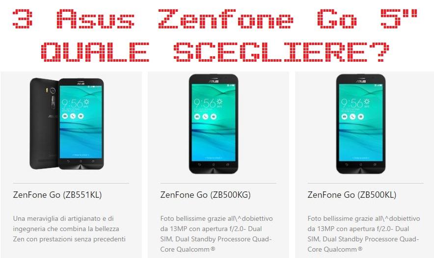 Asus Zenfone Go 5 pollici tre diverse versioni, ecco quale scegliere prezzo e offerta