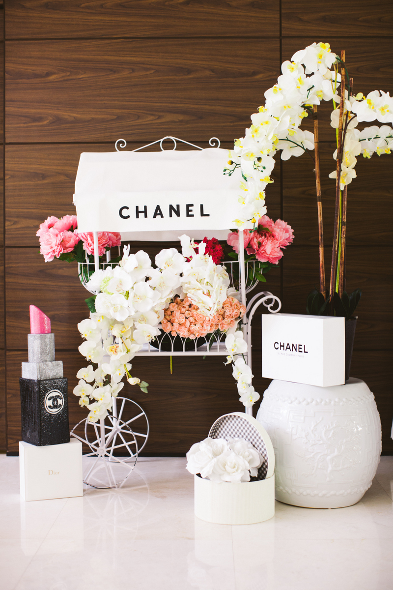 chanel flower cart bridal shower decoration