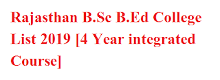 Rajasthan B.Sc B.Ed College List 2019 [4 Year integrated Course]