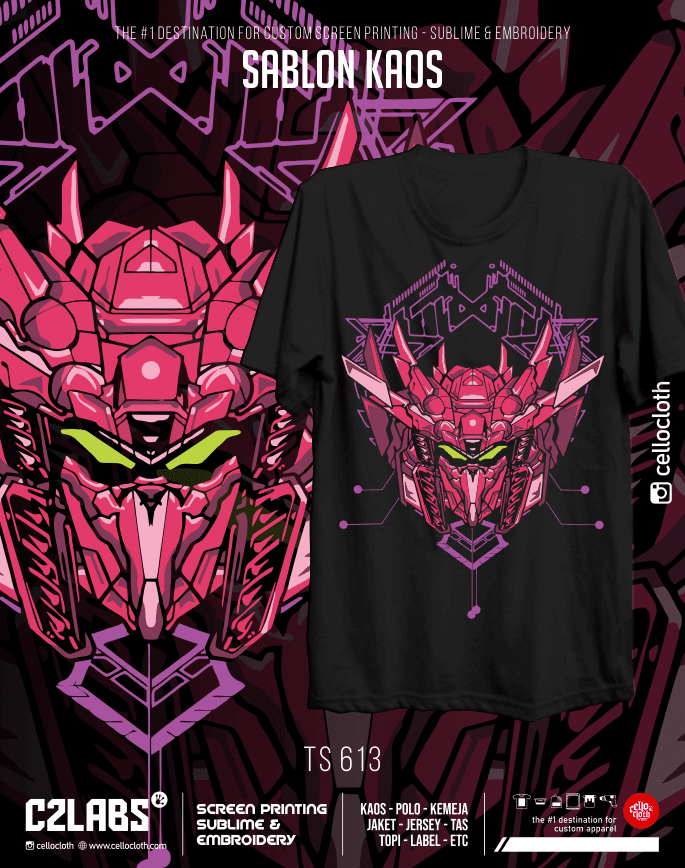 TS 613 Contoh Desain Kaos Sablon Rubber Manual Custom - C2 Labs Cellos Clothes