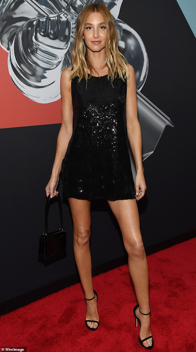 Whitney Port is the epitome of chic in a slinky LBD showing off her gorgeous legs at the MTV VMAs