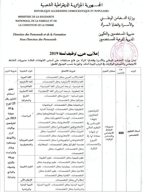 عاجا- اعلان مسابقة التضامن الوطني 2019