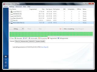 Cara Defragment dengan menggunakan software Auslogics Disk Defrag