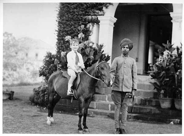 English Child on Pony Held by Indian Servant - Early 20th Century Photograph