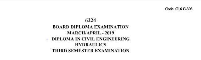c16 civil 303 Hydraulics Diploma Previous Question Paper March/April 2019