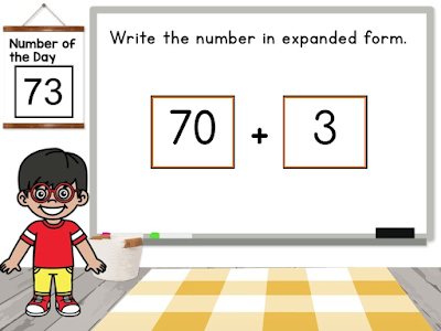 Using expanded form as a way to represent the value of numbers as part of digital number of the day