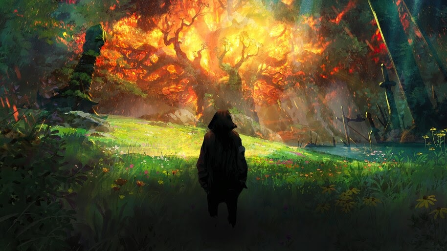 Fantasy, Burning, World Tree, Teldrassil, World of Warcraft, 4K, #3.2710