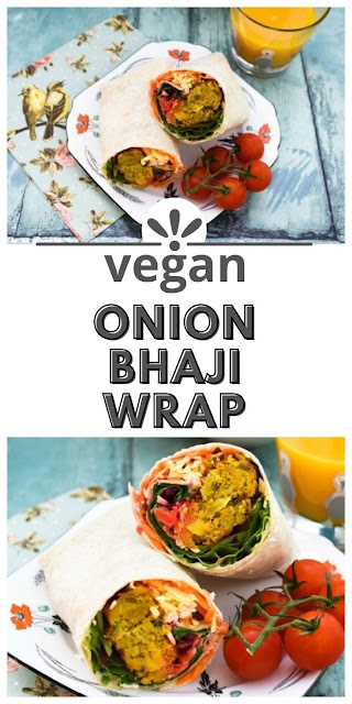 Onion Bhaji Lunch Wrap -  A colourful lunch wraps with the flavours of India and a rainbow of vegetables.