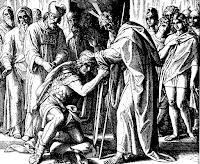 Moses blesses Joshua. Num. 27: 18-23.