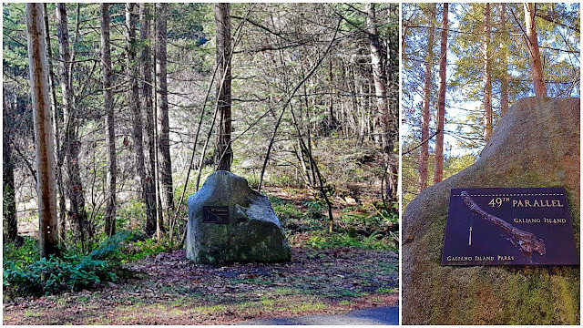 The 49th parallel marked by a boulder...