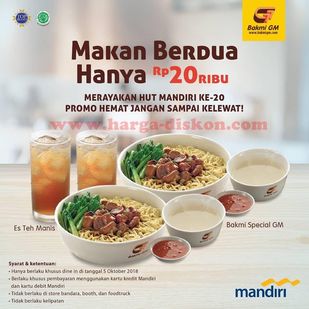 Promo Bakmi Gm Makan Berdua Rp20 000 Dengan Debit Mandiri Kartu Kredit Mandiri 05 Oktober 2018 Harga Diskon
