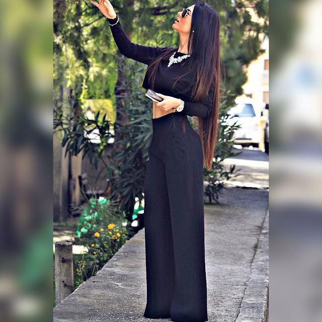Γυναικείο μαύρο σύνολο AVRORA - Παντελόνα και μπλούζα