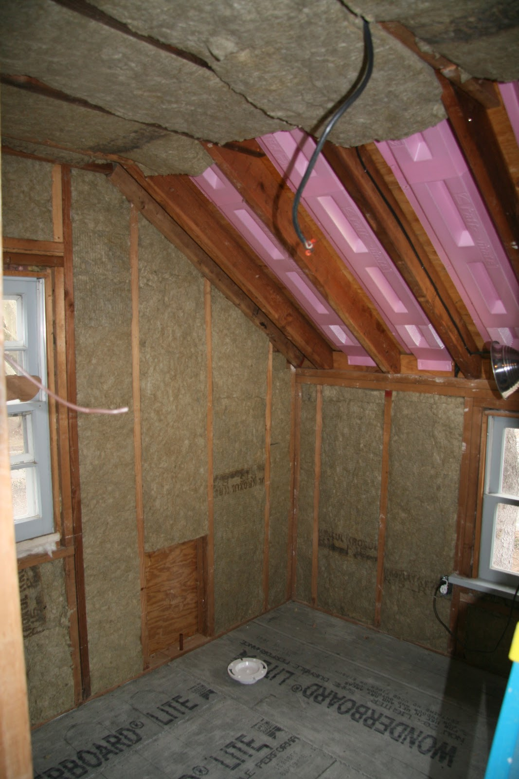 The Upstairs Bathrooms And Ceilings In S Old Farmhouse Are Being Insulated With Roxul Insulation Bats Made For Either Or Walls