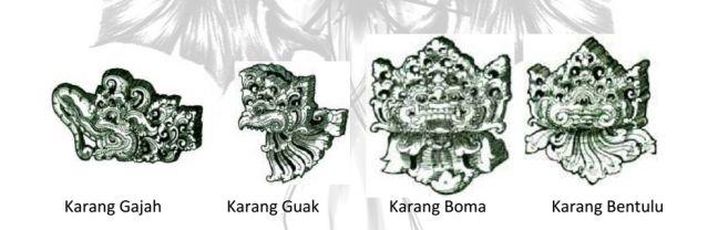 Berbagai bentuk motif kekarangan Bali