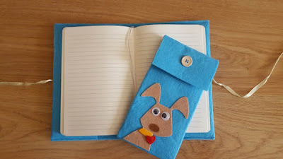 Dog notebook and pencil case set