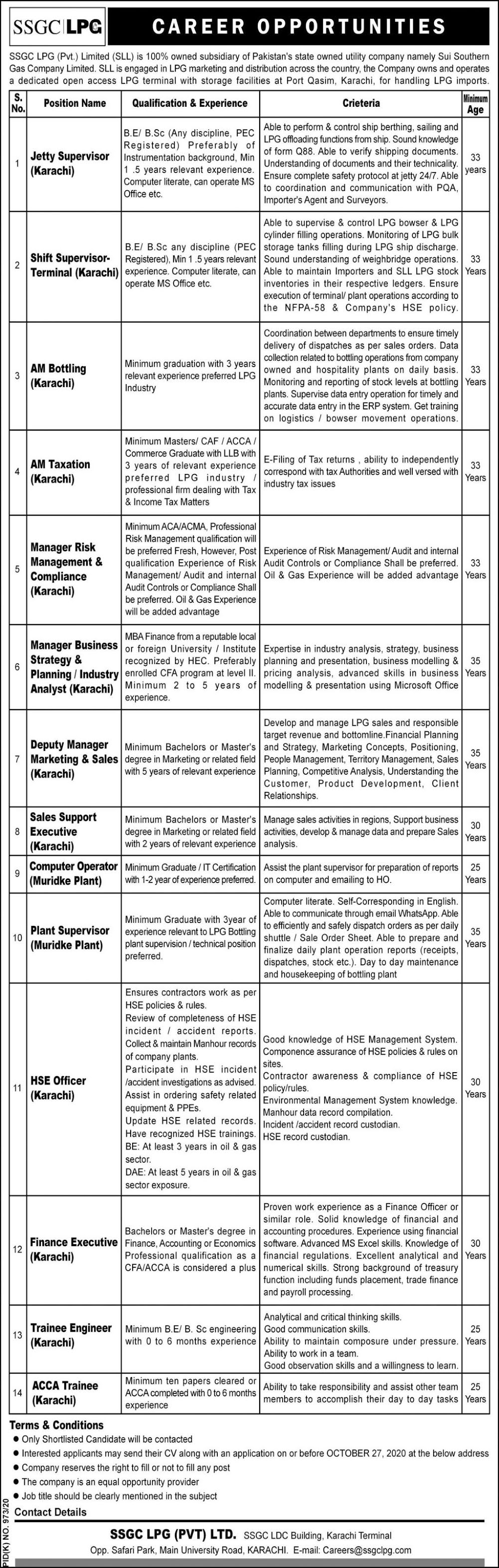Sui Southern Gas Company SSGC Job Advertisement in Pakistan
