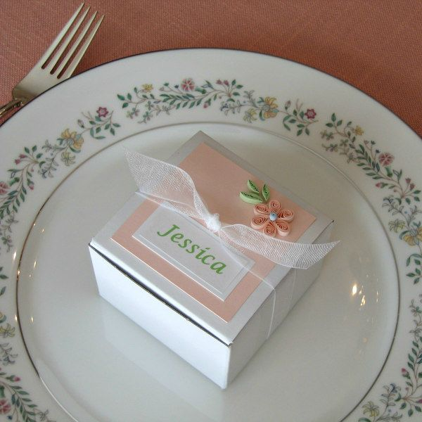 quilled flower favor box on china plate