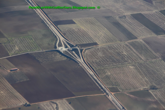 Aerial view of road over northern Spain from a commercial airline