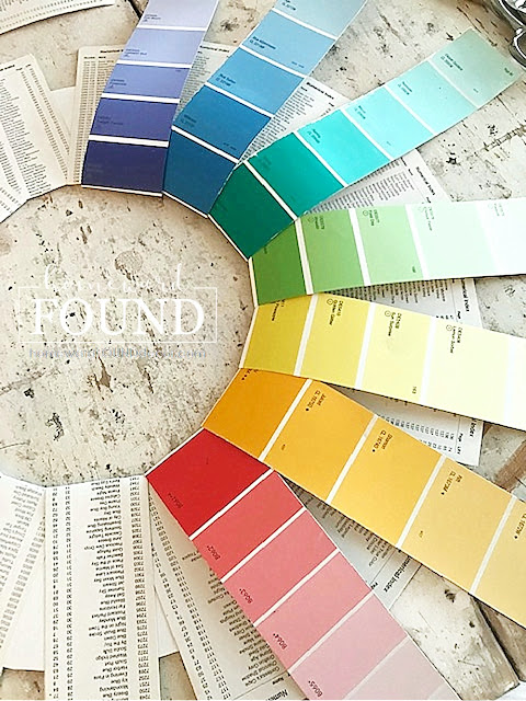art,art class,wall art,paper crafts,paper,Christmas,Christmas Decor,color,color palettes,colorful home,holiday,DIY,diy decorating,wreaths,re-purposing,up-cycling,seasonal,tutorial,winter,home decorating,paint chips,paint chip decorating,paint chip Christmas decor,roygbiv,colorized,Christmas home decorating,Christmas wreath,door wreaths,paint chip crafts