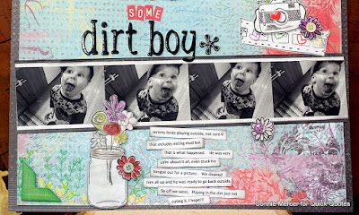 Quick Quotes and Joy Clair promotion scrapbook page featuring Canon printer filmstrip tutorial designed by Connie Mercer