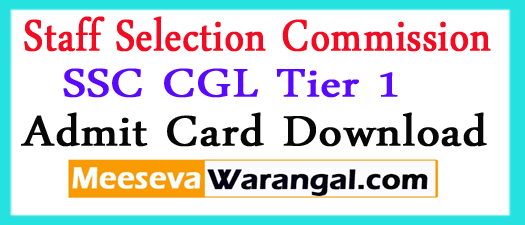 SSC CGL Tier 1 Exam Admit Card 2017 Hall Ticket Download