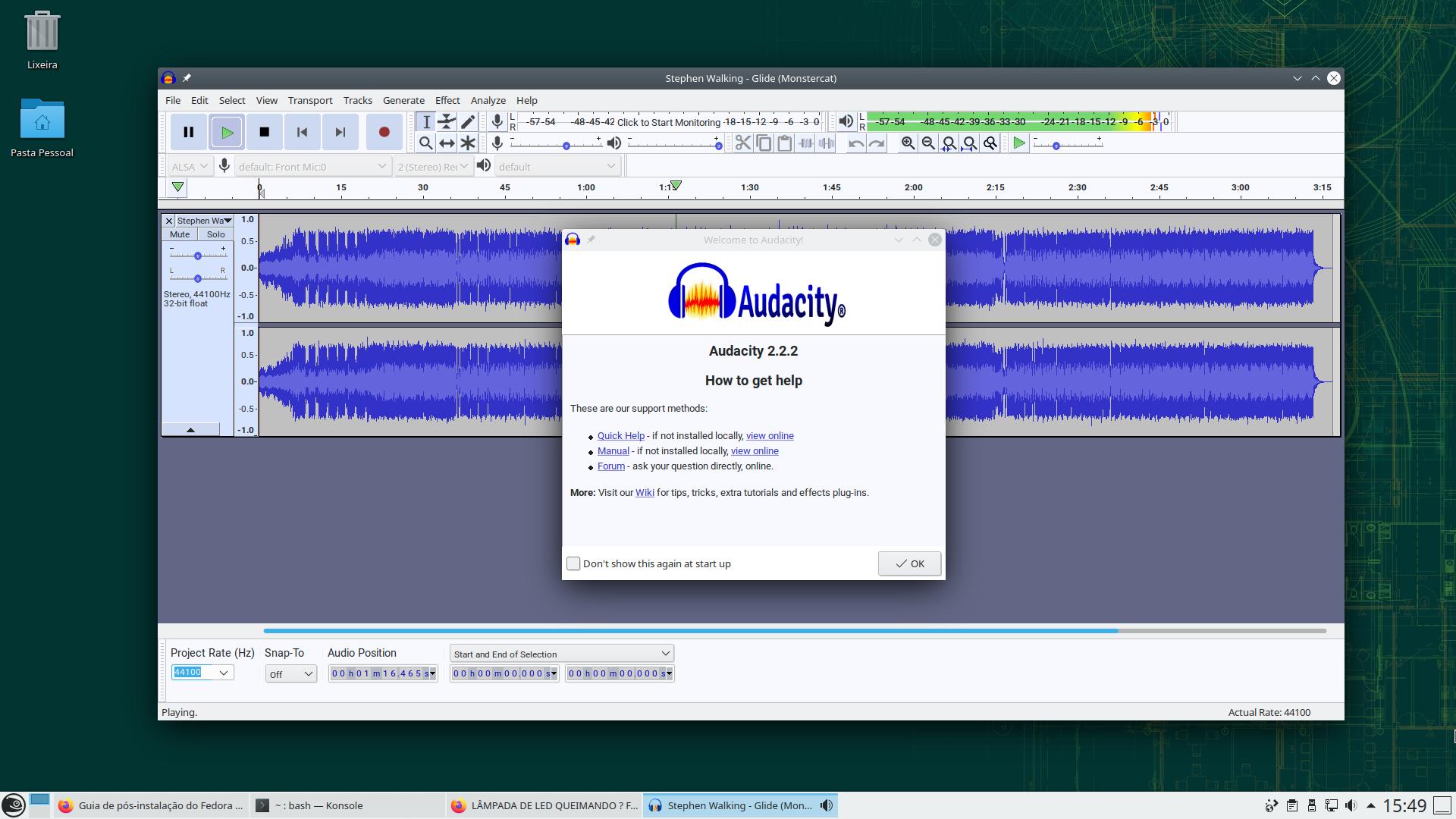 Audacity executando no openSUSE Leap 15.3