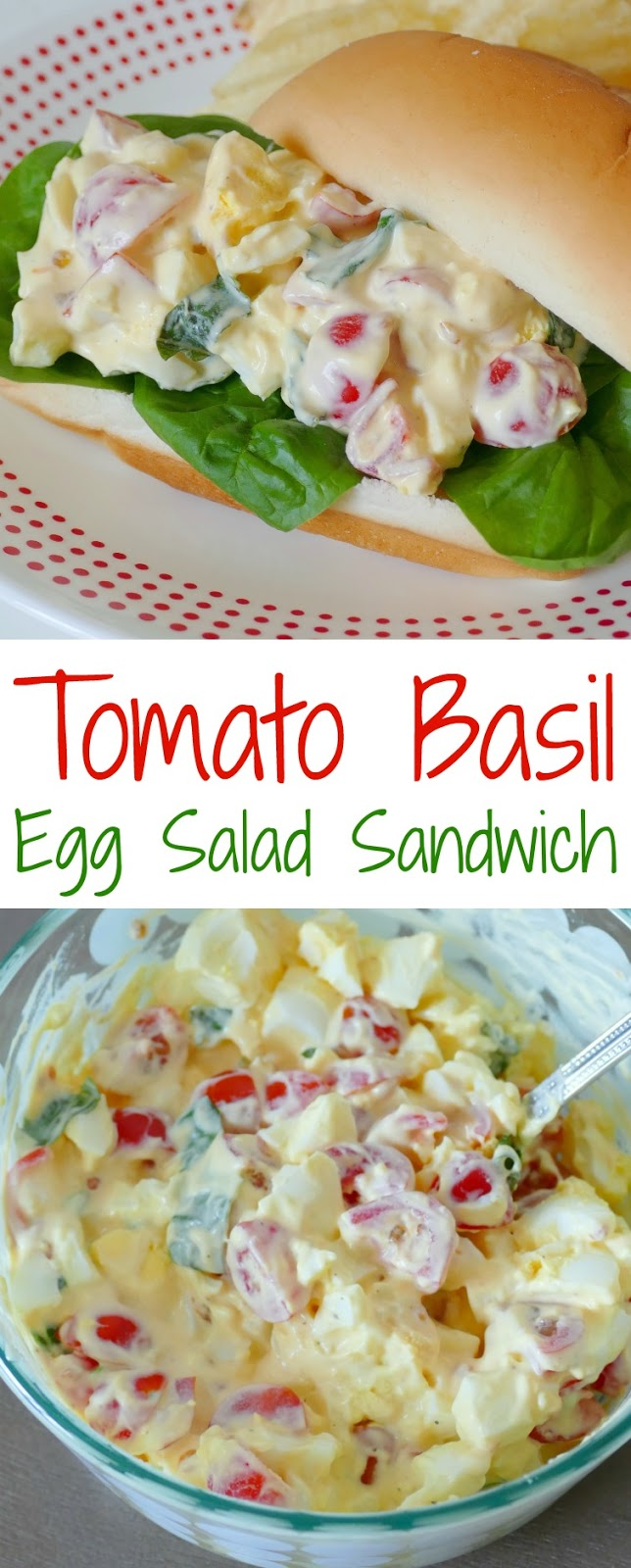 This egg salad sandwich is a perfect lunch when served with soup, fruit, chips or veggies! The tomato basil flavor is unique and so delicious! Serve on bread, wraps, buns, croissants or baguettes!