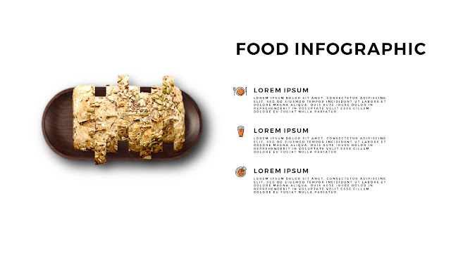 Food Infographic Elements for Editable Background Powerpoint Template with Sliced Bread