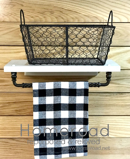 DIY Basket shelf and towel bar