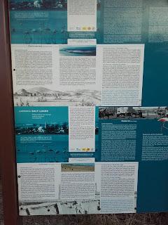 Greek and English poster about Larnaka Salt Lake
