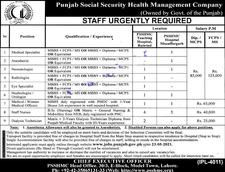 Punjab Social Security  Health Management Company PSSHMC Latest New Vacancies 2021