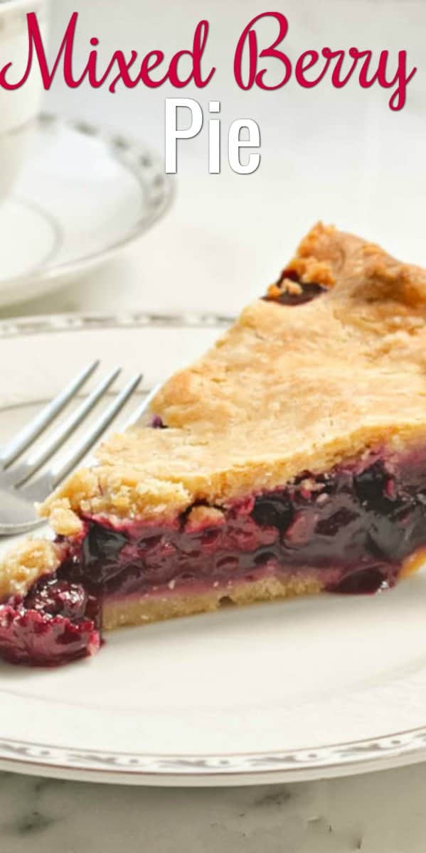 Mixed Berry Pie Recipe using frozen or fresh berries in a flaky sour cream pie crust. A favorite Thanksgiving Pie recipe from Serena Bakes Simply From Scratch.