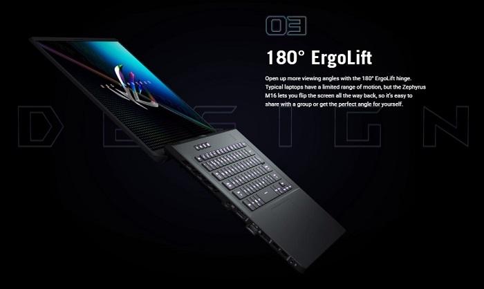 Asus ROG Zephyrus M16 Gaming Laptop Erganomics