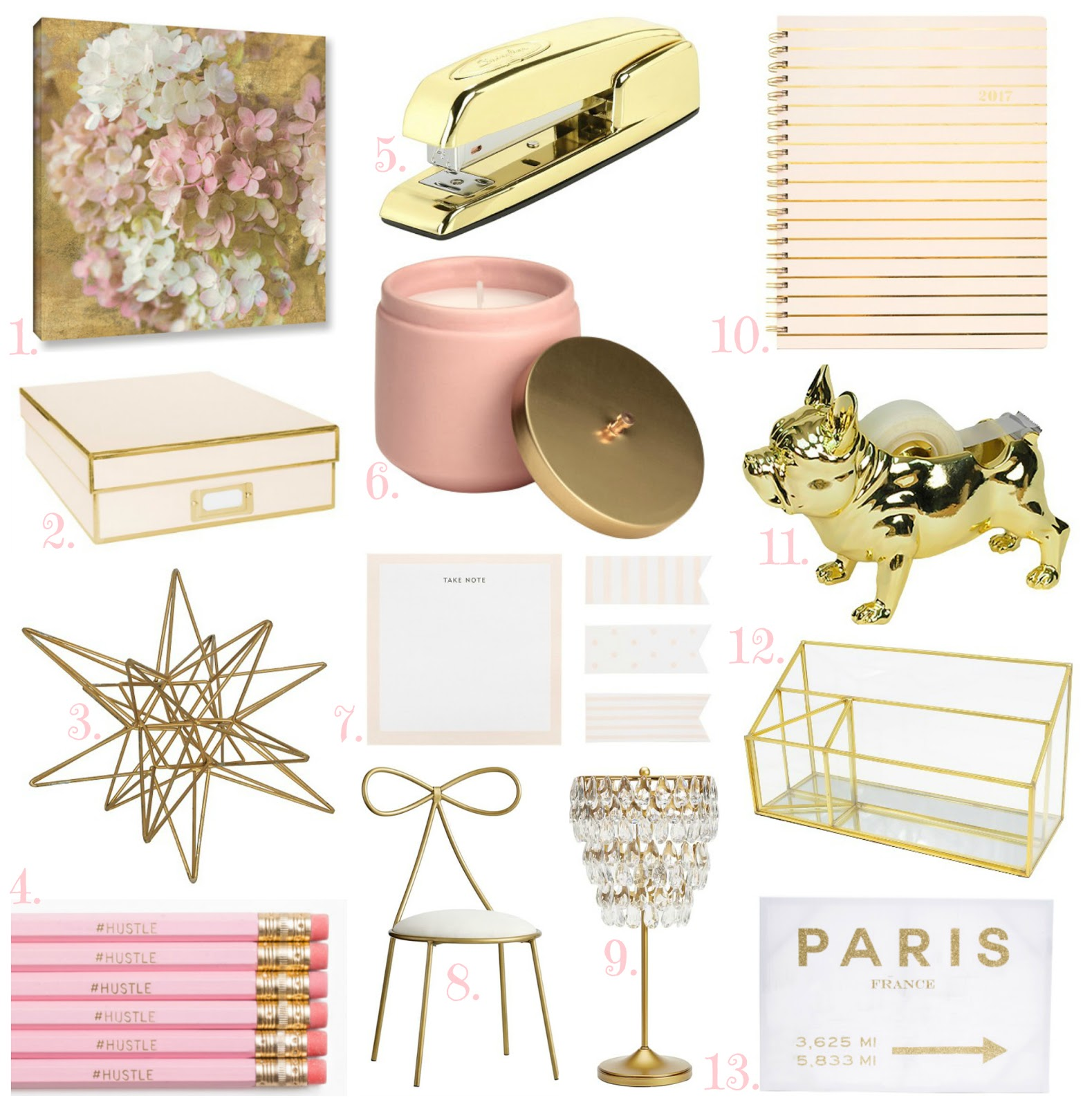 Blush and Gold Office Accessories, affordable gold home decor, blush and gold home decor, target gold home decor