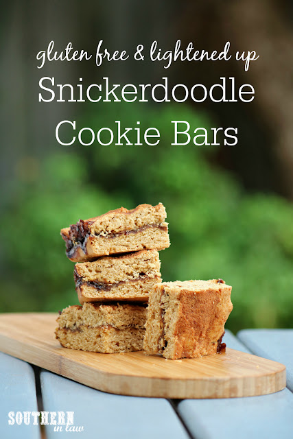 Easy Gluten Free Snickerdoodle Cookie Bars Recipe - snickerdoodle blondies, healthy, low fat, gluten free, refined sugar free