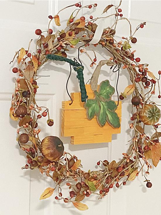 wreath with dollar tree block pumpkin