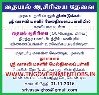Applications are invited for Sewing Teacher Post in Sri Vasavi Girls Higher Secondary School Dindigul (Govt Aided)